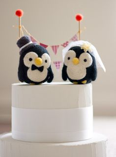 Bride and Groom, needle felted penguin cake topper.