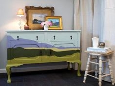 Using a landscape painting for inspiration, treat your old furniture piece like a canvas and create a simple ethereal landscape of your own. See how it's done >>