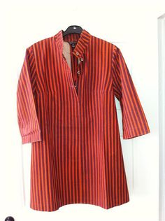 Vintage Marimekko Shirt Dress / Striped Red & Burgundy Size Medium / 1960 Finland
