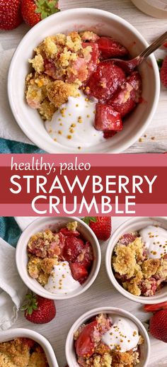 This healthy strawberry crumble is the perfect summer dessert! It has a lightly sweetened strawberry filling (fresh or frozen strawberries work) that's topped with an oat-free crumble topping. This delicious strawberry recipe is grain free, dairy free, egg free and paleo friendly! #strawberrycrumble #strawberrycrisp #strawberryrecipe #paleo #eggfree Strawberry Crisp, Strawberry Filling, Strawberry Recipes, Eggless Recipes, Paleo Recipes, Paleo Dessert, Healthy Dessert Recipes, Gluten Free Baking, Gluten Free Desserts