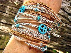 Hippie Chic Endless Leather Wrap Beaded Bracelet by LeatherDiva, $44.00