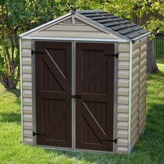Outdoor Storage Shed Garden Building Kit Garage 6X10 Tools Durable Plastic Tan…