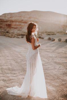Anna Campbell Sydney Dress | Vintage-Inspired hand-embellished sequin wedding dress for bohemian bridal beauty.