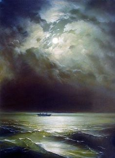 ivan konstantinovich aivazovsky the black sea at night painting