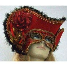 Venetian Mask Masquerade Lady Pirate Hat Red Mardi Gras Costume