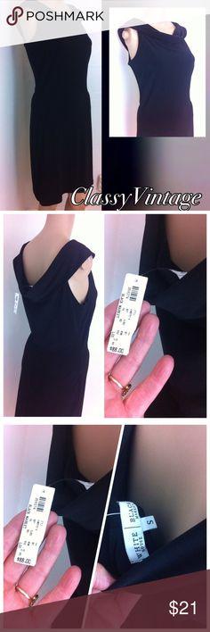 Little black dress by White House Black Market. Sleeveless cowl neckline dress. Slip on style. Sheath style dress. Simple elegance White House Black Market Dresses