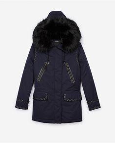 The Kooples - Navy parka with fur hood - WOMEN Navy Parka, The Kooples, Womens Parka, Modern Outfits, Down Coat, Canada Goose Jackets, Best Sellers, Ready To Wear
