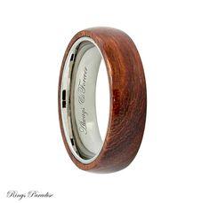 6mm Domed Titanium Ring Mens Titanium Wedding by RingsParadise