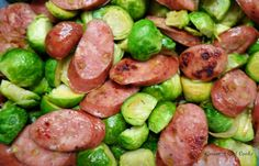 Aidell's Chicken-Apple Sausage & Sprouts -- Keep it simple with Costco ingredients -- lightly steamed Brussels sprouts sauteed in butter tossed with sliced Aidell's Smoked Chicken & Apple Sausages.