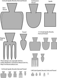 Miniature Printables - Printable patterns for dolls house scale garden forks, spades, trowels, construction and barn shovel Dollhouse Miniature Tutorials, Miniature Crafts, Diy Dollhouse, Miniature Dolls, Dollhouse Miniatures, Miniature Gardens, Miniature Bottles, Fairy Gardens, Miniature Furniture