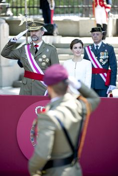 King Felipe VI of Spain and Queen Letizia of Spain attended the 2015 Armed Forces Day at Plaza de la Lealtad on June 6, 2015 in Madrid, Spain.