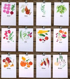 2013 seasonal harvest calendar. $24.00, via Etsy.