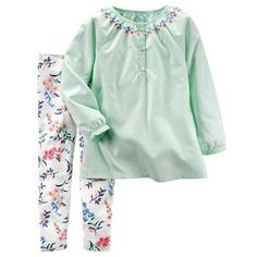 Baby Girl Carter's Embroidered Top & Floral Leggings Set