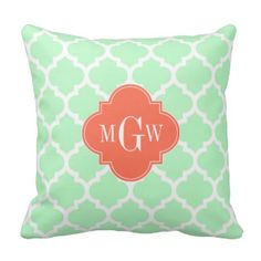 Mint White Moroccan #5 Coral 3 Initial Monogram Throw Pillow