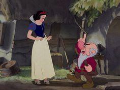 Grumpy telling Snow White to be careful