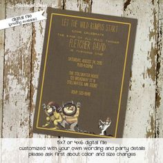 Where the Wild Things Are birthday invitation or baby shower