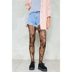 Nasty Gal Mother Nature Floral Tights ($12) ❤ liked on Polyvore featuring intimates, hosiery, tights, black, floral tights, nasty gal, floral print tights, floral stockings and high rise tights
