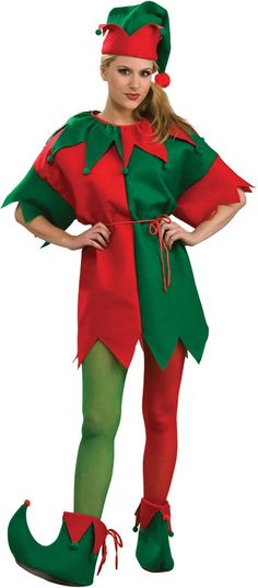 Green And Red Elf Tights Women Size