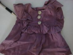Vintage DOLL CLOTHES, purple dress with rhinestone buttons