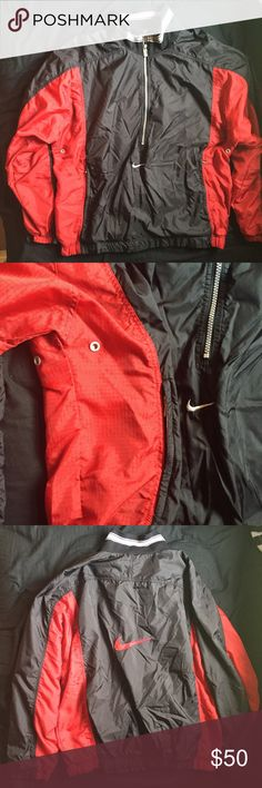 """Men's Nike Windbreaker Black & Red Great condition however it appears there were some drawstrings on the waist that are missing. Red and black """"t stripe"""". Half zip with front zip pockets. Large red Nike swoosh on back. I'm selling this for someone else - therefore I cannot be as flexible with prices as normal. If you need more info, don't hesitate to ask!💕 ❌No trades.  ❌No holds. Nike Jackets & Coats Windbreakers"""