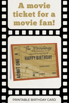 Who doesn't love movies? And there's a movie lover turning a year older everyday! So I've designed the perfect birthday card for your favorite film buff. Present this card before you settle in to watch his or her favorite movie at home, or before buying the popcorn at the cinema. Happy movie birthday! Birthday Quotes, Birthday Wishes, Birthday Cards, Happy Movie, Printable Tickets, Opening An Etsy Shop, Beautiful Notebooks, Family Movie Night, Movie Tickets