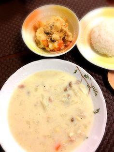 ホワイトソースは豆乳、バター、小麦粉で手作り(*^^*) - 2件のもぐもぐ - チキンと白菜のクリーム煮、ポテトサラダ by tantantanko