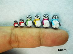 Micro Penguin Family 2  Tiny Miniature Penguins  Set of by suami, $180.00