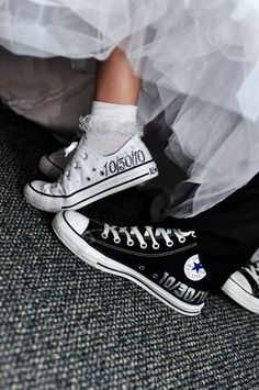 Wear personalized Chuck Taylor Converse to show off the bride and groom's (and bridal party's) offbeat style! I'm going to go ahead and call this one a DIY ALERT for the more crafty and artistic brides and grooms. If your comfortable enough to do it, you can hand paint custom details on your Chucks; or any other shoes!