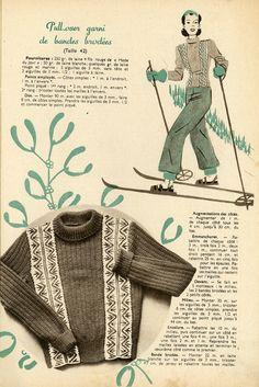 """Magazine """"En tricotant"""" n°43 - Décembre 1938. Pull-over de ski garni de bandes verticales brodées. Modèle tricoté en laine 4 fils rouge et blanc aux aiguilles n° 3 et 3,5. Côtes 1/1, jersey et point piqué. Broderies en rouge et marine. Superbe !"""