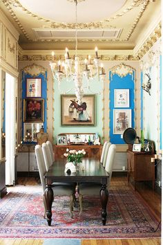 love this dining room, especially the unique use of paint and space on the back wall
