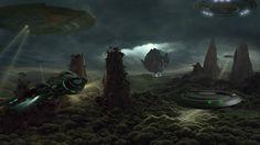 Научная фантастика космический корабль  Обои