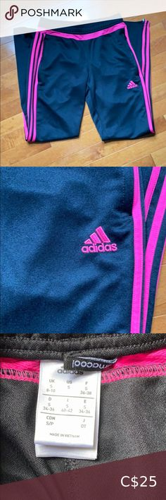 Adidas Pink Striped Climacool Pants Size small Adidas pants. Black with the pink stripe. Climacool. Zippered bottom. Drawstring waist. In excellent condition. adidas Pants & Jumpsuits Track Pants & Joggers Adidas Skinny Track Pants, Black Adidas Pants, Adidas Sweatpants, Black Joggers, Fleece Joggers, Pink Adidas, Red And White Stripes, Pink Stripes, Adidas Neo Label