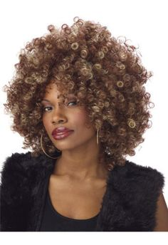 Sexy Fine Foxy Afro Halloween Costume 70's Party Wig Fancy Black Curly Fro Adult #CaliforniaCostume