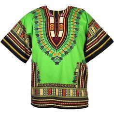 661336a696e Vintage Clothes Hippie - Men's Dashiki Shirt African Top Vintage Clothing  Hippie Style Tribal Lime Yellow