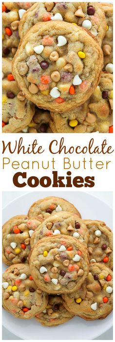 Chocolate Reese's Pieces Peanut Butter Chip Cookies - Baker by Nature White Chocolate Reese's Pieces Peanut Butter Chip Cookies - so thick and chewy!White Chocolate Reese's Pieces Peanut Butter Chip Cookies - so thick and chewy! Cookies Receta, Yummy Cookies, Brownie Cookies, Fall Cookies, Reese's Cookies, Cookies Soft, Protein Cookies, Köstliche Desserts, Dessert Recipes