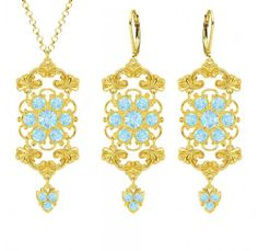 24K Yellow Gold Plated over 925 Sterling Silver Pendant and Earrings Jewelry Set Designed by Lucia Costin with Flower Elements Ornate with Cute Charms and Light Blue Swarovski Crystals Handmade in USA -- Learn more by visiting the image link.(This is an Amazon affiliate link and I receive a commission for the sales)