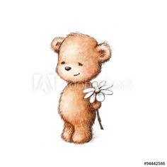 59a368cb7 a teddy bear with daisy Bear Watercolor, Watercolor Animals, Teddy Drawing, Teddy  Bear