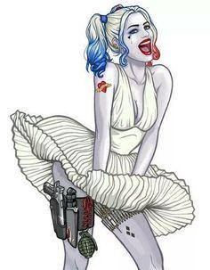 Harley Quinn in iconic Marilyn Monroe dress (Artist? Possibly a color edit based on Harley Quinn / Marilyn Monroe by TheReverendPlissken/Richard Lewis? Harley Quinn Tattoo, Harley Quinn Drawing, Joker And Harley Quinn, Zeichnung Marilyn Monroe, Hearly Quinn, Der Joker, Es Der Clown, Batman, Gotham City