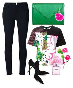 """""""Pink + Green"""" by cherieaustin on Polyvore featuring Frame Denim, Marni, Gianvito Rossi, Isaac Mizrahi, L'Agence, MICHAEL Michael Kors and Chanel"""