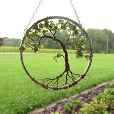 Peridot Olive Bonsai Wire Tree of Life Wall by HomeBabyCrafts