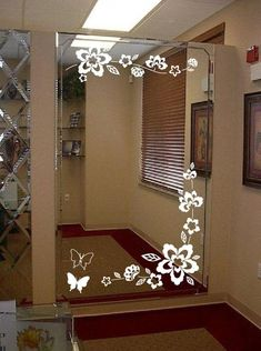 Large Wall Floral Blossom Nursery Mirror Ornament Butterfly Decal 1141 (Many Sizes and Colors Availa Nursery Mirror, Bathroom Mirror Design, Glass Bathroom, Bathroom Decals, Wall Decals, Window Glass Design, Frosted Glass Design, Glass Etching Designs, Glass Painting Designs