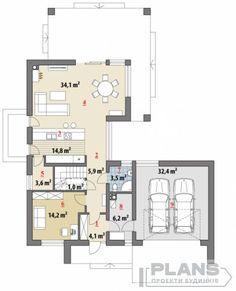 "Проект коттеджа ""Marivas"" | Plans | Проекти будинків Modern Bungalow House Design, Minimal House Design, Modern Barn House, Modern Villa Design, Model House Plan, New House Plans, Home Building Design, Building A House, Big Houses Exterior"