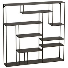 """Alcove wall shelf: CAD 199.00. Nine sheet metal ledges suspend and intersect mondrian style on steel rods to frame objects of interest. Raw look with powder-coated finish. Width: 30"""" Depth: 5.5"""" Height: 30"""""""