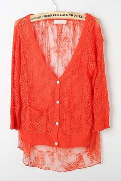 Cardigan crafted in lace, featuring V-neckline, long sleeves, sheer design to main, button through closure, flower pattern to back, all in regular fit.$54