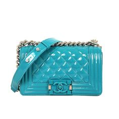 Chanel Lagoon Blue Aqua Quilted Patent Leather 2015 Plexiglass Boy Shoulder Bag | From a collection of rare vintage shoulder bags at https://www.1stdibs.com/fashion/handbags-purses-bags/shoulder-bags/