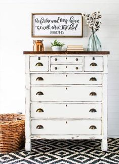 Modern farmhouse dresser painted with General Finishes Milk Paint