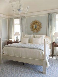 Master bedroom inspiration. Blue, gray, white.