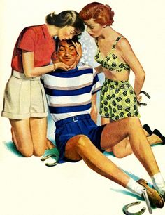 You, too, can be a knockout! Detail from 1949 Jantzen Swimwear ad, art by Pete Hawley.