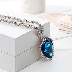 Blue Big Austrian Crystal Titanic Heart Love Maxi Boho Choker Necklaces&Pendants for Women Fashion Jewelry  He1 – lolfashion.net