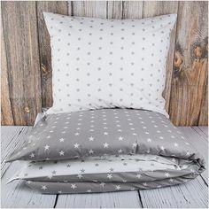 """Pościel z bawełny """"Grey & White Stars"""" 160x200cm + 2x70x80cm - Pościel bawełniana"""